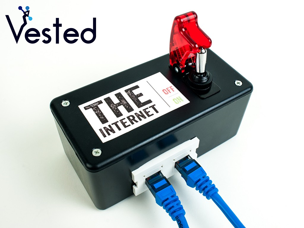 internet box with a kill switch with the vested marketing logo